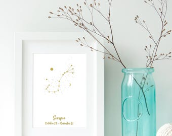 Scorpio Zodiac Constellation, Astrology, Star Signs, Horoscope. Real Foil Print. Home Decor. Homemade Gift. Love. Quote. Personalised,
