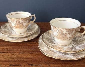Stunning gold Colclough tea cup trio for afternoon tea, wedding party or gift