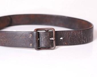 men's leather belt antique /ceinture officer french vintage/belt
