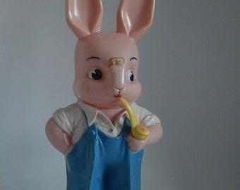 Vintage Knickerbocker Plastic Bunny Bank