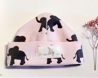 Baby beanies/kot beanies/slouchie beanies/kid beanies/newborn beanies/head hugger/elephants/pink