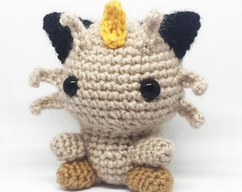 Meowth Amigurumi. Crochet Pokemon. Stuffed toy plushie.  *OFFER* Buy 2 or more pokemon and receive a free pokeball