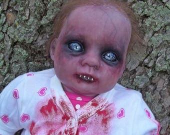 "Reborn Zombie Baby 19"" Doll Gothic reborn Horror Doll Creepy Baby"