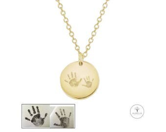 Gold 925 Silver chain with Handprint engraving