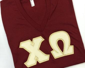 Cranberry American Apparel V-Neck Letter Shirt