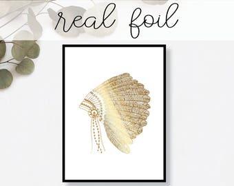 Indian Headdress Print // Real Gold Foil // Minimal // Gold Foil Art // Home Decor // Modern Office // Typography // Fashion