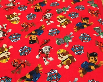 Toddler Blanket Paw Patrol, Chase, Marshall, Zuma, Rocky, Rubble, cotton fabric, batting, flannel, toddler, baby or crib quilt, large 43x54