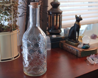 Vintage Glass Bottle - Ornate - Cork Top - Witch Bottle - Potion - Magic - Wicca - Craft - Decor - Brew - Pirate - Herbal - Storage