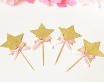 Star cupcake toppers // star pink ribbon cupcake toppers / star food picks // twinkle twinkle star banner // star first birthday / set of 12