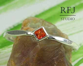 Kite Lab Spessartine Garnet Faceted Silver Ring, Princess Cut 2x2 mm Square Red Orange CZ Stack Ring Modern Rhombus Setting Spessartite Ring