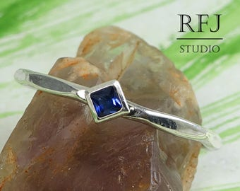 Kite Synthetic Spinel Faceted Silver Ring, Rhombus Setting Stacked Promise Ring Princess Cut 2x2 mm Square Dark Blue Spinel Engagement Ring