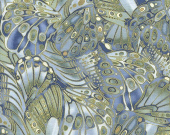 """Butterfly Fabric, Metallic Fabric: Shimmer Butterflies with Metallic by Timeless Treasures 100% cotton fabric by the yard 36""""x43""""  (K402)"""