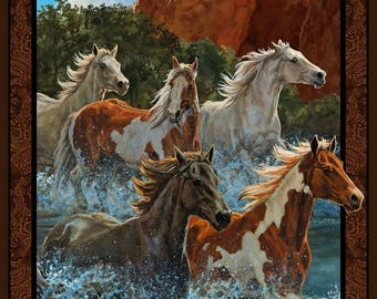 In stock- Horse Fabric: Wild Wings Rivers Edge Horses Running Water Allover Panel by Springs Creative 100% cotton Fabric SC492
