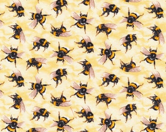 """In stock - New Bee Fabric: Fabri-Quilt You Bug Me Bees  100% Cotton Fabric by the yard 36""""x43""""  FQ21"""