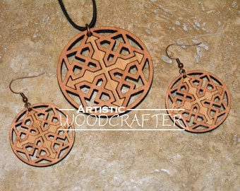 Wooden Geometric Necklace and Earring set (Cherry/Bamboo)