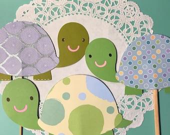 Turtle baby shower  centerpieces, turtle centerpiece sticks, boys baby shower, boys birthday party centerpiece, set of 3