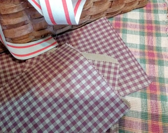 Burgundy  Gingham Check Bakery Bags,  Treat bags ,  Favor bags