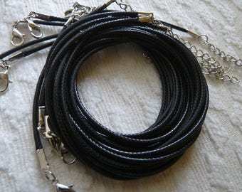 "Bulk Necklace Cord, Black Waxed Cord, 2mm Waxed Cord, 17.5"" Black Necklace Cord, Adjustable Finished Round Necklace Cord"