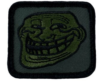 """Tactical Troll Face Patch (With Velcro) Subdued Olive Drab Colors (J02) 1.75"""" x 2"""""""