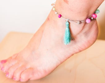 "Ankle Bracelet Ethnic Romantic ""Acidulous"" Pink Fuschia and Silver"