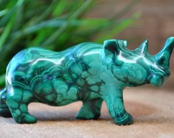 Malachite Crystal Rhino Sculpture - Stone Animal Figurine-  1220.51