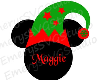 SVG File for Mickey Mouse with Christmas Elf Hat