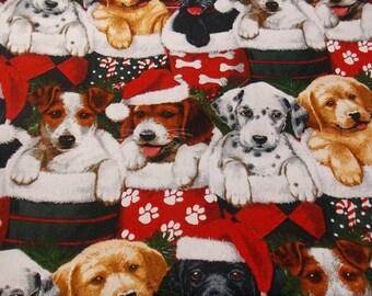 Dog Fabric Christmas Dogs Cotton Fabric Holiday Fabric Santa Dogs Quilting Fabric Stocking Fabric Home Decor Fabric Craft Fabric
