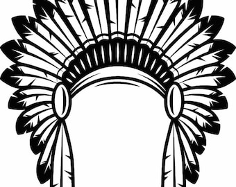 Indian Headdress #1 Native American Head Dress Tribe Chief Costume Ornate Feather Tattoo Logo .SVG .EPS .PNG Vector Cricut Cut Cutting File