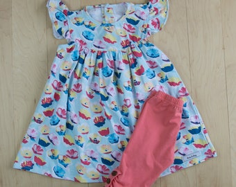 Spring/Summer Riley Print Flutter Ruffle Pearl Dress with matching icing capris