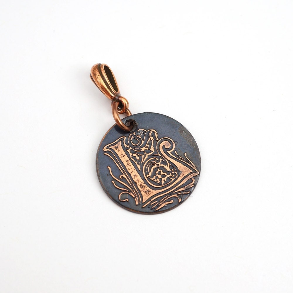 small l pendant etched copper letter jewelry