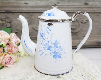Vintage French White & Blue Floral Enamel Coffee Pot - Shabby Chic
