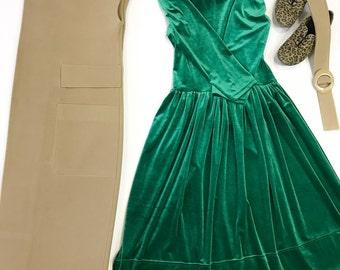Dress velvet Emerald