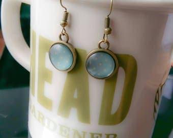 Sale~Vintage Inspired Antique Bronze/Pale Codett Blue Cabochon Earrings