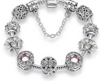 Floral Silver / Pink Crystal Charm Bracelet