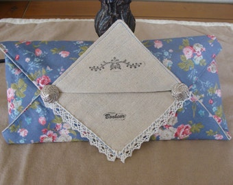 Tissue case romantic linen cotton pad button lace