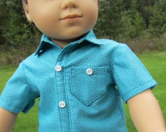 """Turquoise Boy Doll Shirt Fits AG Logan & Other 18"""" Boy Dolls- Short Sleeves, Collar Stand, Front Placket Just Like Real Man Shirt Handmade"""