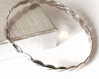 Sterling Silver Wrap Over Solid Silver Bangle