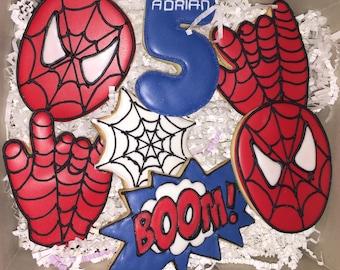 Spider-Man Cookies; Spider-Man Birthday Cookies; Web Cookies;  Superhero Cookies  - 1 Dozen (12 Cookies)