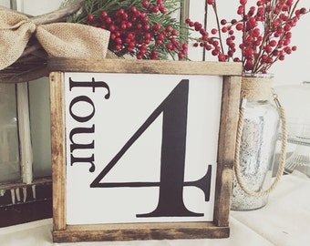 Family Number Framed Sign Fixer Upper Style Hand Painted