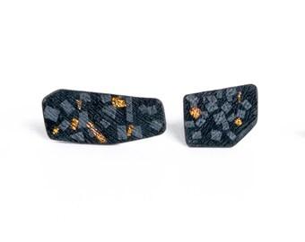 geometric stud earrings, black & gold stud earrings, asymmetric post earrings, minimalist stud earrings, black stud earrings, post earrings