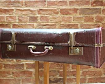 Rich Burgundy Vintage Expanding Suitcase