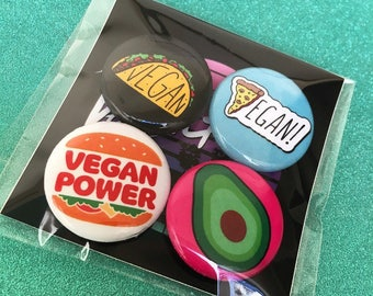VEGAN BUTTON SET - Pinback buttons pins pack - Vegan Taco Pizza Burger Avocado - Vegan Power Free Sticker