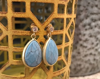 Light turquoise earrings with tiny CZ stud