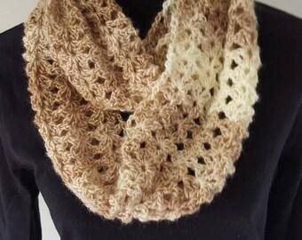 Tan/Cream Crocheted Scarf