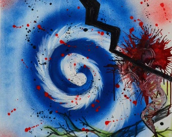 New realism - blue, red - spiral - Explosion