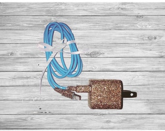 Blue and Gold Glitter iPhone Charger