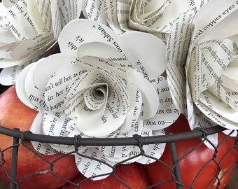 """Book Page Paper Roses, Half Dozen on Stems, 3.5"""", Book Paper Flowers"""