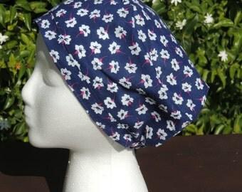 Buy 5, Get 6th Free! Women's Scrub Cap with Elastic Back - Purple Flower Print