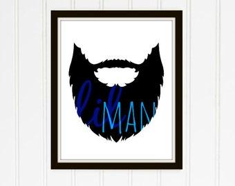 Lil Man with Beard Nursery Printable