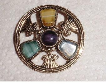Vintage Brooch Tri Coloured stones